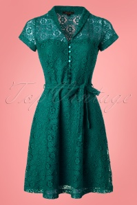 60s Emmy Doily Lace Dress in Waterfall Green