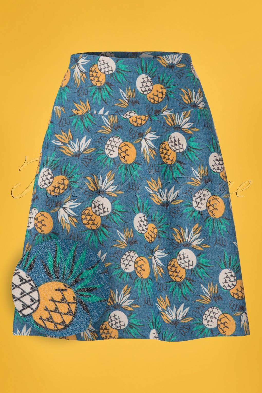 1960s Fashion: What Did Women Wear? 60s Lanai Borderskirt in Ocean Blue £65.74 AT vintagedancer.com