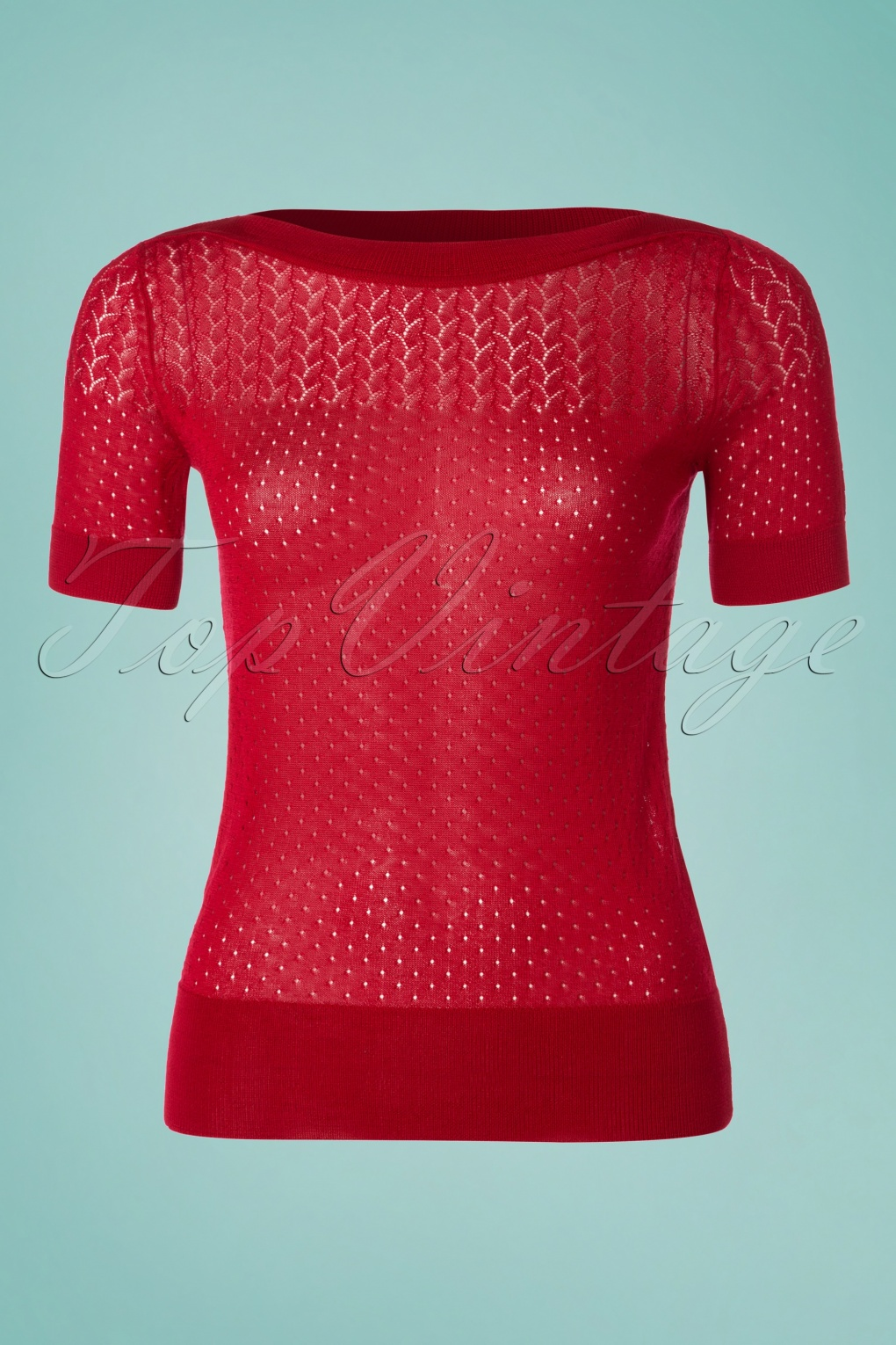 1950s Sweaters, 50s Cardigans, Twin Sweater Sets 50s Audrey Parterre Top in Cherry Red £78.88 AT vintagedancer.com