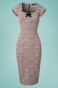 50s Josie Bow Pencil Dress in Pink Melange