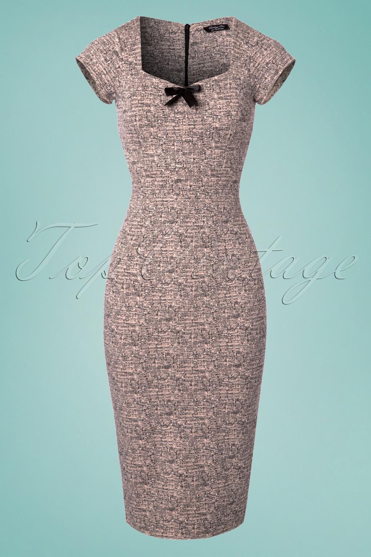 50s Josie Bow Pencil Dress in Pink Melange