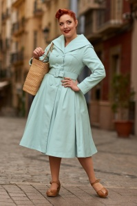 50s Antonella Swing Trench Coat in Mint