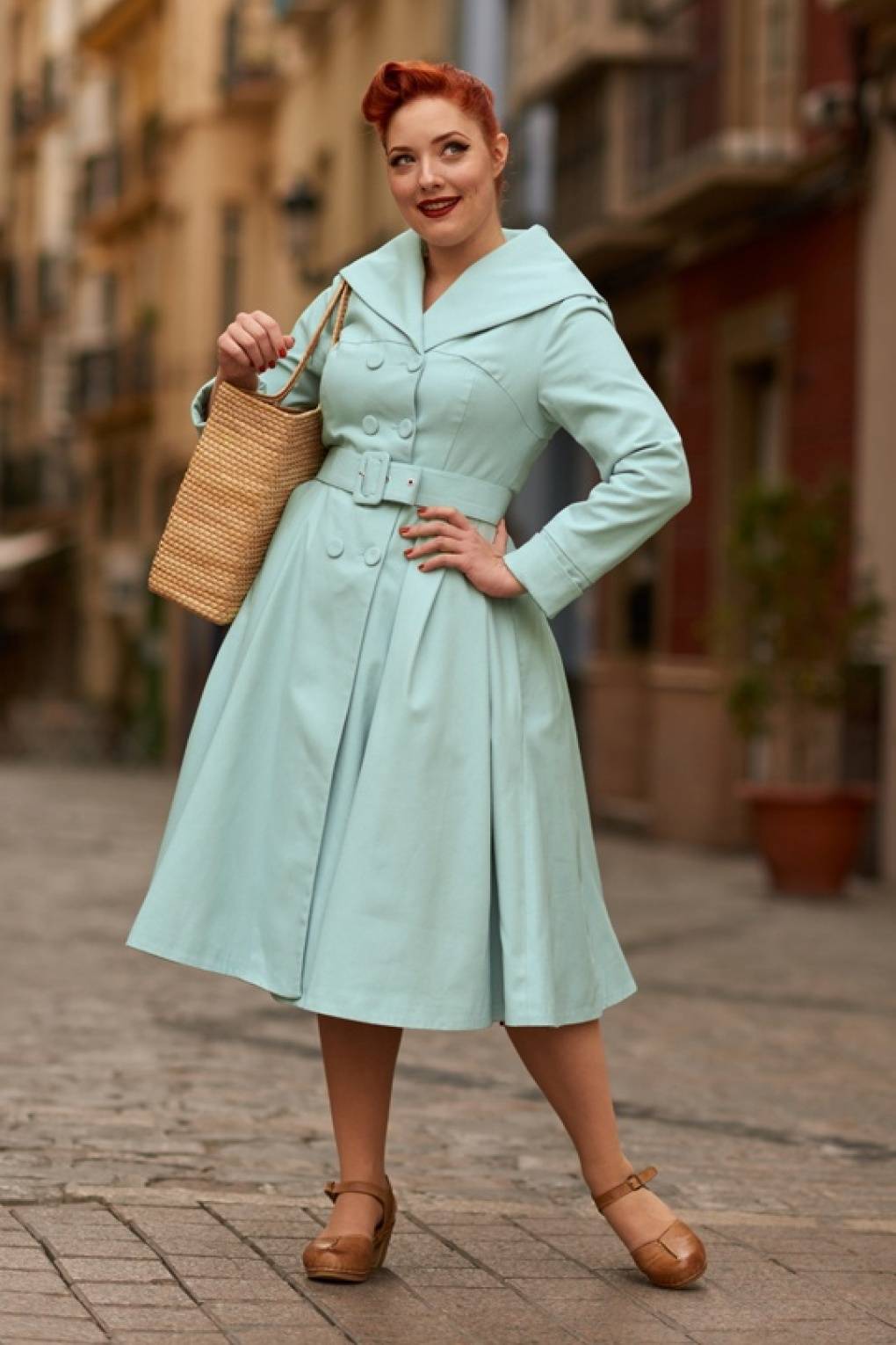 Vintage Coats & Jackets | Retro Coats and Jackets 50s Antonella Swing Trench Coat in Mint £133.42 AT vintagedancer.com