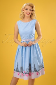 50s Paname Swing Dress in Blue