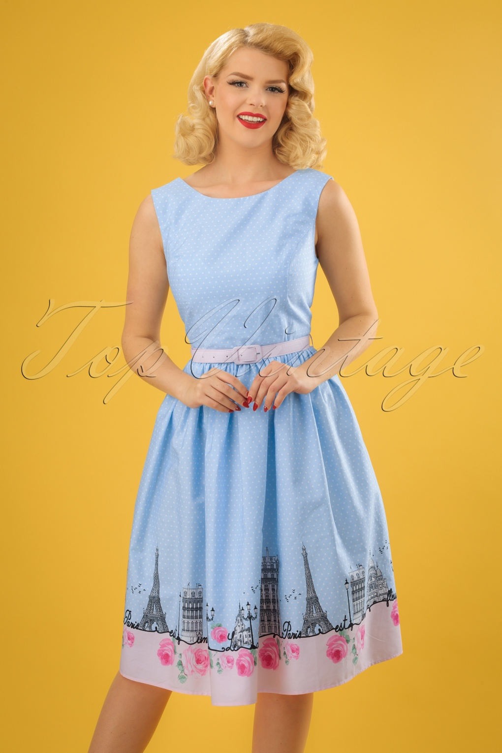 1950s Swing Dresses | 50s Swing Dress 50s Paname Swing Dress in Blue £56.16 AT vintagedancer.com