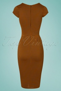 Vintage Chic Orange Gingham Pencil Dress 100 89 24767 20180227 0008W