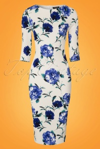 Vintage Chic Blue Floral Pencil Dress 100 59 24969 20180227 0001W