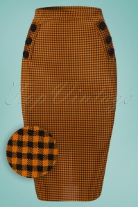 Vintage Chic Houndstooth Orange Pencil Skirt 120 89 24496 20180227 0005W1