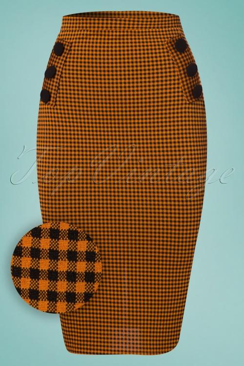 Vintage Chic Houndstooth Orange Pencil Skirt 120 89 24496 20180227 0005W1