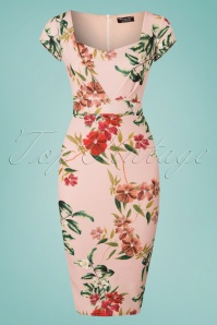 50s Cecilia Floral Pencil Dress in Light Pink