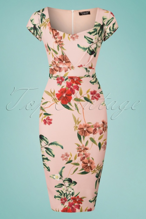 Vintage Chic Cap Sleeve Floral Pink Dress 100 29 24489 20180227 0001W