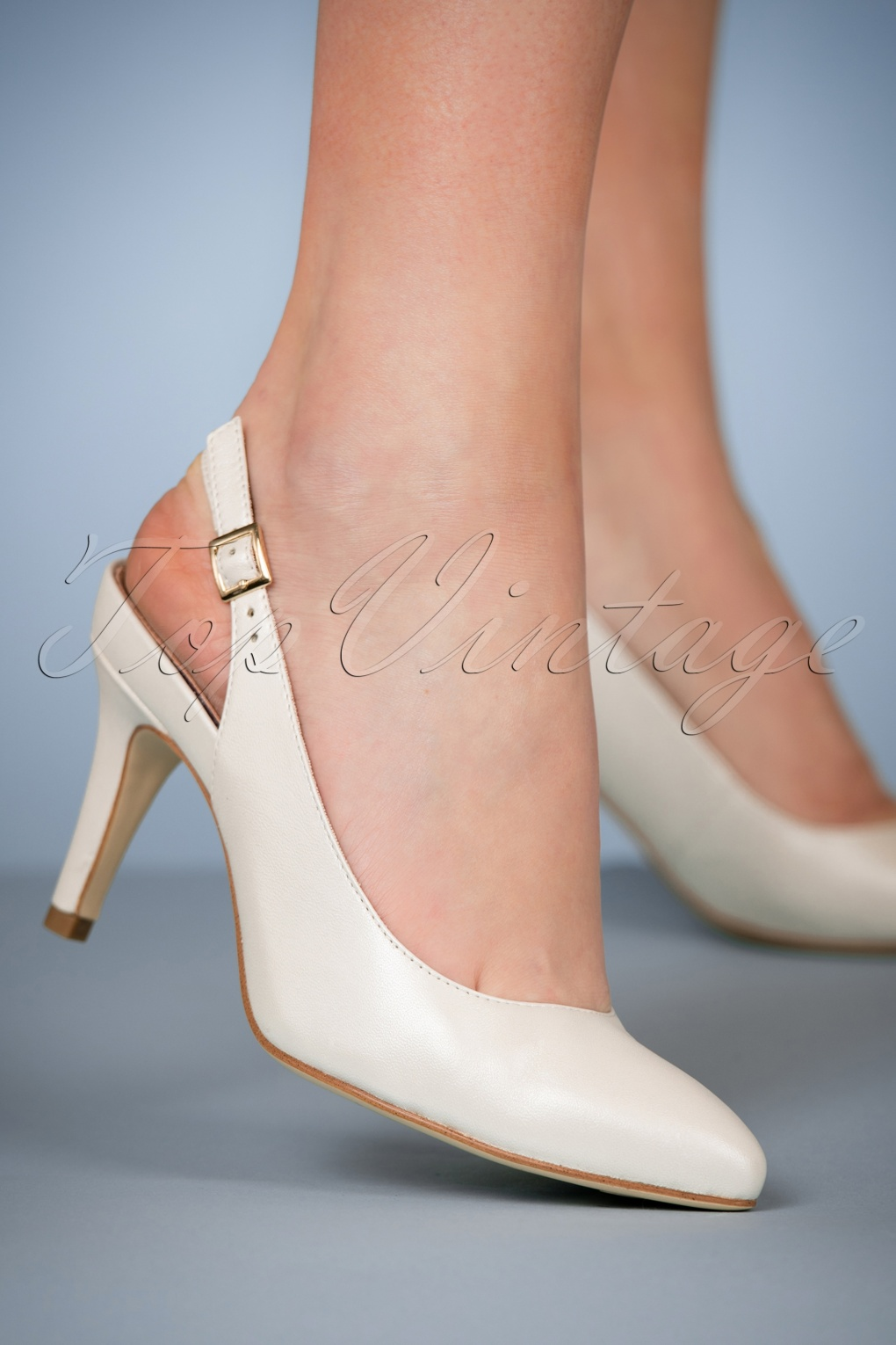 50s Leather Slingback Pumps In Pearl White