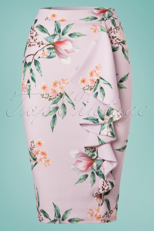 Vintage Chic Lila Floral Pencil Skirt 120 29 24474 20180228 0002W