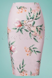 Vintage Chic Lila Floral Pencil Skirt 120 29 24474 20180228 0001W