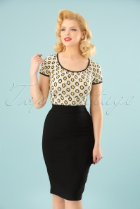 50s Polly Bengaline Skirt in Black