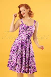 50s Echinacea Floral Swing Dress in Purple