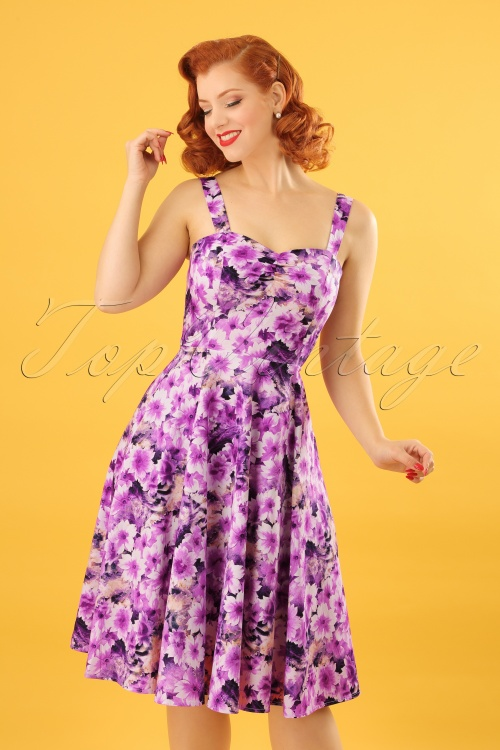 Hearts and Roses Purple Floral Swing Dress 102 69 21740 20170519 0016W
