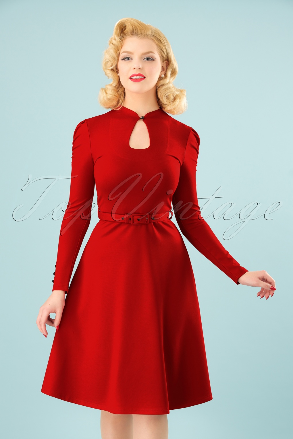 Authentic Natural 1950s Makeup History and Tutorial 50s Dita Swing Dress in Lipstick Red £57.57 AT vintagedancer.com