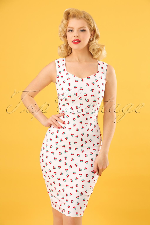 3e8b8cb6aa90 50s Cherry Pencil Dress in White