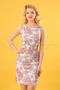 60s Ellen Rhodondendron Dress in Off White