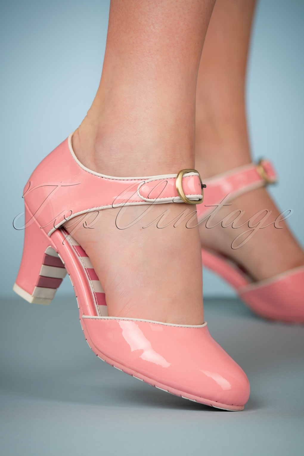 Authentic Natural 1950s Makeup History and Tutorial 50s Ava Pretty Please Pumps in Baby Pink £123.51 AT vintagedancer.com