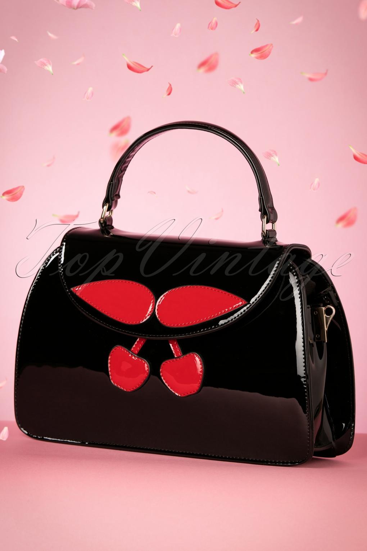 Vintage & Retro Handbags, Purses, Wallets, Bags 50s Debra Cherry Bag in Black £56.49 AT vintagedancer.com