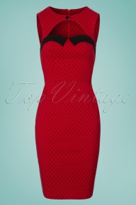 Bunny Miley Pencil Dress in Red and Black Polkadots 100 27 24034 20180305 0002W