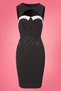 Bunny Miley Pencil Dress in Black and White Polkadots 100 14 24033 20180305 0003W