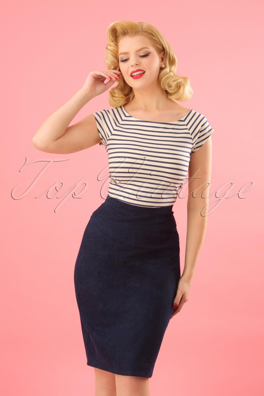 1960s Fashion: What Did Women Wear? 60s Zia Denim Skirt in Dark Blue £52.91 AT vintagedancer.com