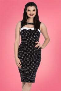 Bunny Miley Pencil Dress in Black and White Polkadots 100 14 24033 20180305 01