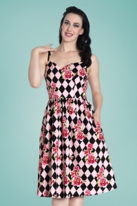 50s Harlequin Swing Dress in Black and Pink