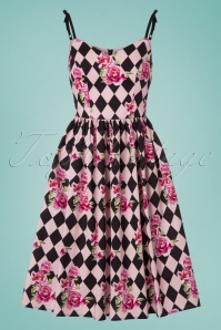 Bunny Harlequin 50s Dress in Black and Pink 102 14 24049 20180305 0008w