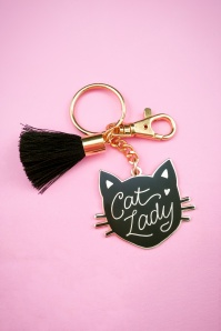 60s Cat Lady Gold Plated Enamel Keychain in Black