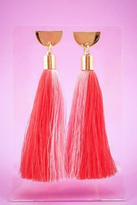 Little Arrow tassel earrings halfmoon coral pink 333 22 24746 01