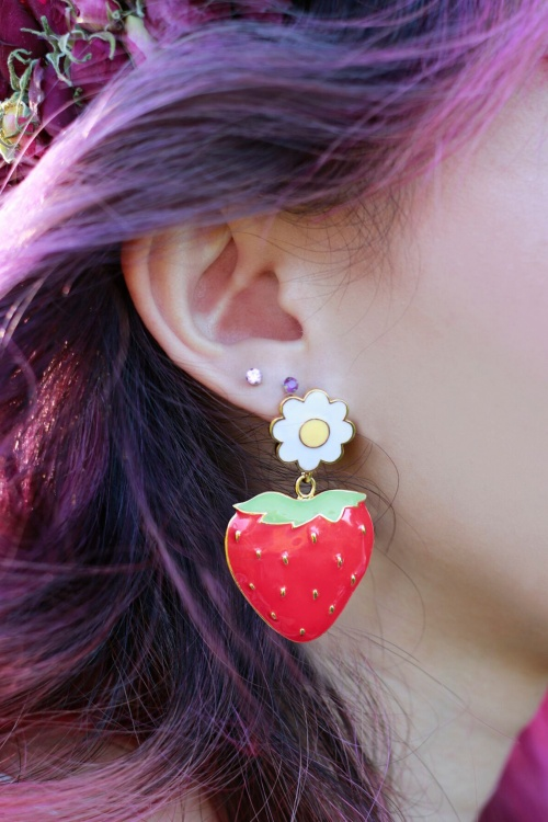 60s Strawberry Field Gold Plated Earrings