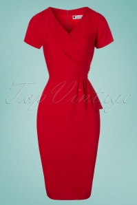 50s Victoria Pencil Dress in Red