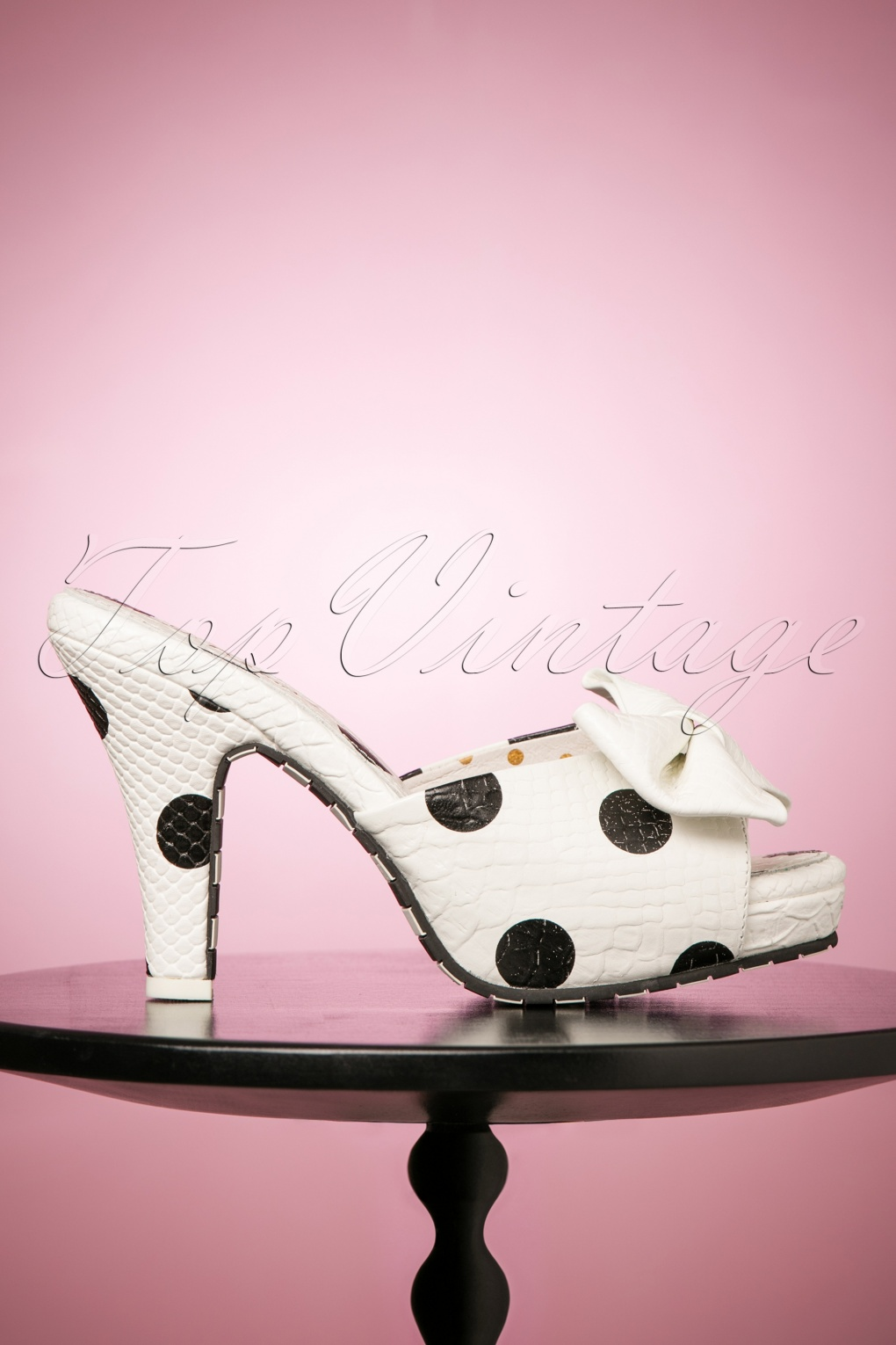 Pin Up Shoes- Heels & Flats 50s Angie Butterfly Dotted Sandals in Cream £121.01 AT vintagedancer.com