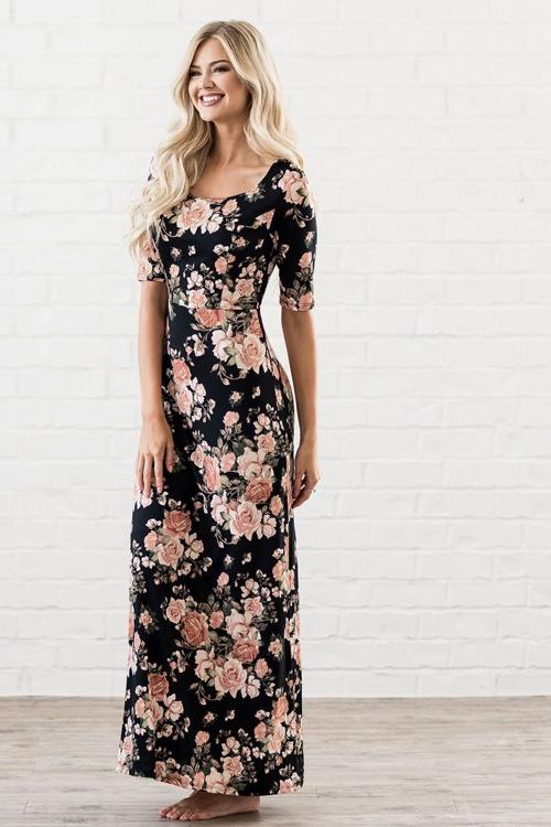 Maxi Jurk Met Korte Mouwen.70s Michelle Floral Maxi Dress In Black