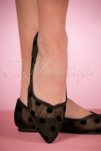 50s Mimi Mesh Flats in Black