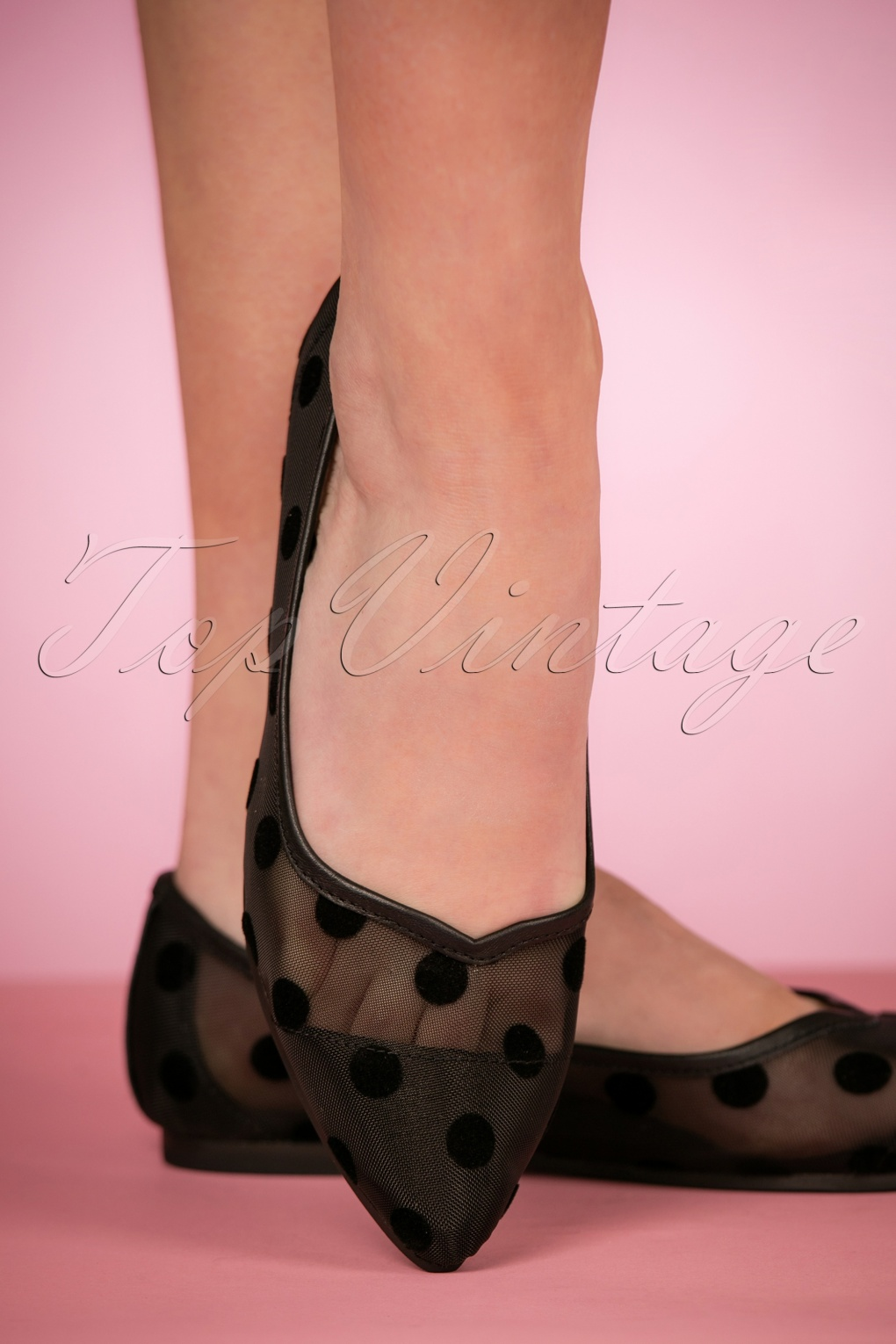 1950s Style Shoes 50s Mimi Mesh Flats in Black £61.10 AT vintagedancer.com