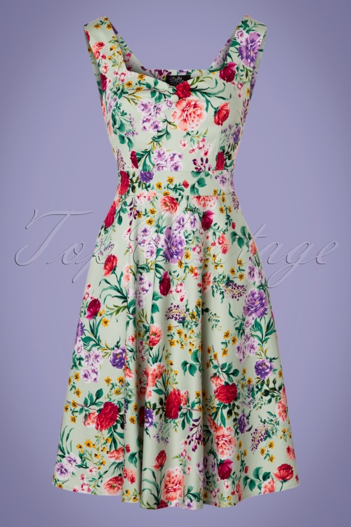 Dolly and Dotty Natalie Green Floral Swing Dress 102 49 24230 20180307 0003W
