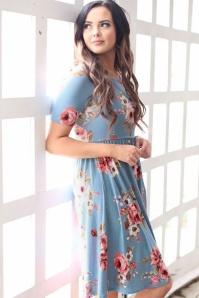Natalie Floral Dress Années 60 en Bleu Poudre
