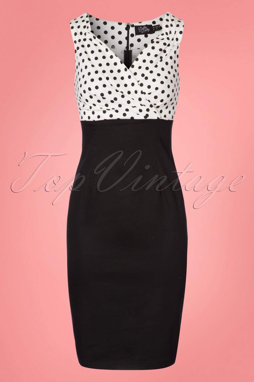 Vintage Polka Dot Dresses – 50s Spotty and Ditsy Prints 50s Cheryl Polkadot Pencil Dress in Black and White £39.22 AT vintagedancer.com