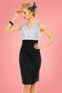 Dolly and Dotty Cheryl Black Polkadot Pencil Dress 100 59 24222 20180307 001