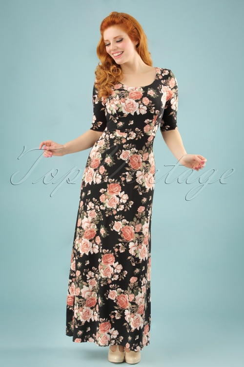 Maxi Jurk Met Mouwtje.70s Michelle Floral Maxi Dress In Black