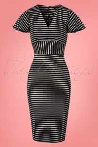 Vintage Chic Black and White Stripes Pencil Dress 100 14 24498 20180305 0003W