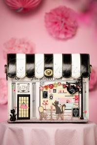 Vintage Biscuit Shop Box Bag Années 50 en Noir et Blanc