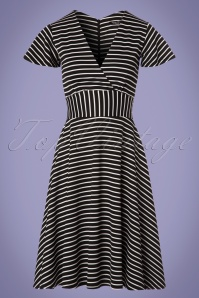 Vintage Chic Striped Full Skirt Black and White Dress 102 14 24497 20180307 0003W