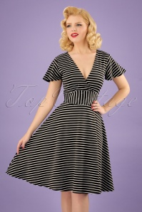 Vintage Chic Striped Full Skirt Black and White Dress 102 14 24497 20180307 1W