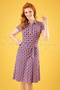 60s Becky Swing Dress in Blue and Red
